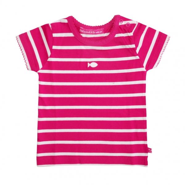 Tee-shirt framboise blanc