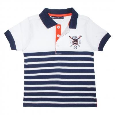 Navy white polo-shirt