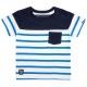 Blue-striped white t-shirt