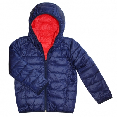 Reversible hooded down jacket