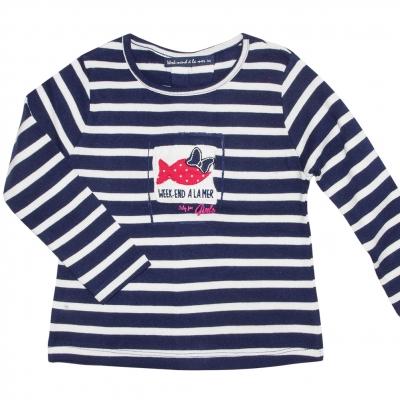 Tee-shirt marine écru