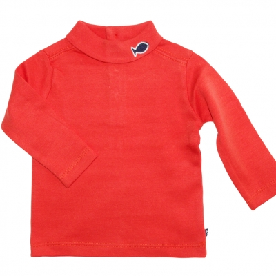 Orange polo-neck jumper