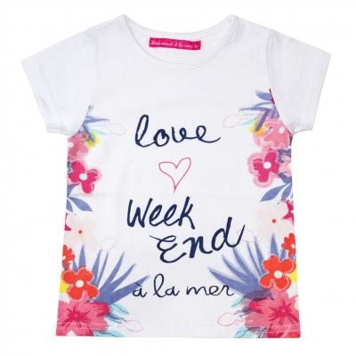 Tee-shirt blanc à fleurs