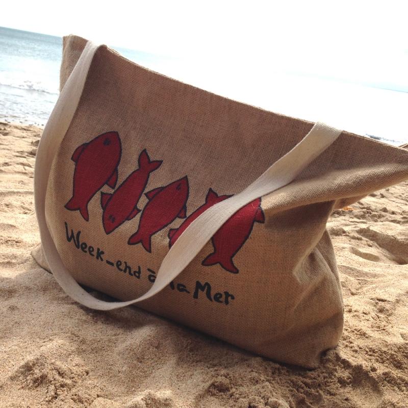 grand sac de plage week end la mer. Black Bedroom Furniture Sets. Home Design Ideas