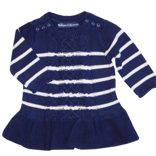 Navy ecru stitch dress