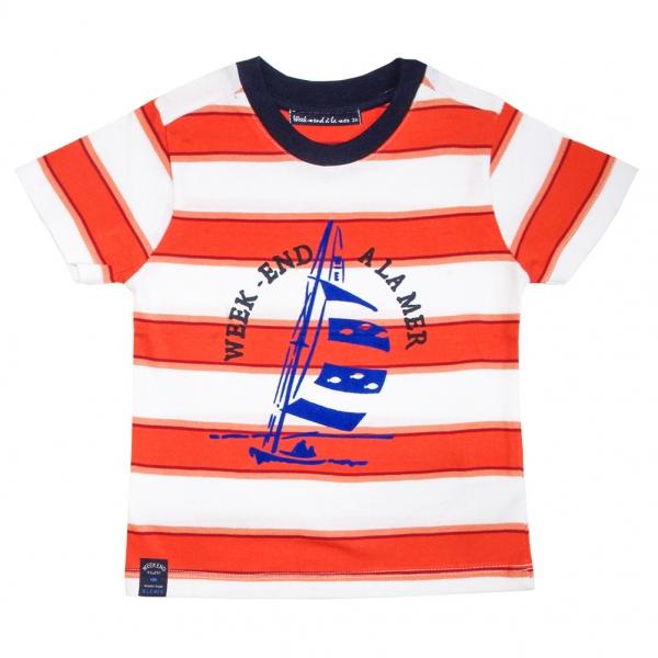 Tee-shirt blanc orange