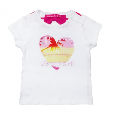 Tee-shirt blanc fushia