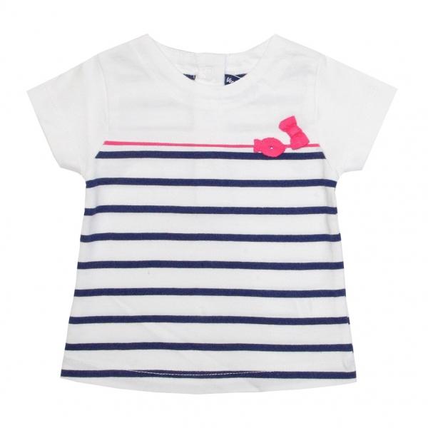 Tee-shirt blanc rayé marine