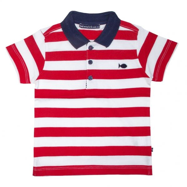 Polo blanc rouge