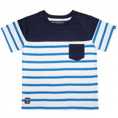Tee-shirt blanc rayé bleu