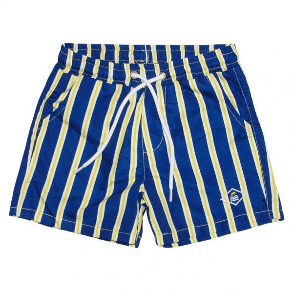 Yellow-striped swim shorts