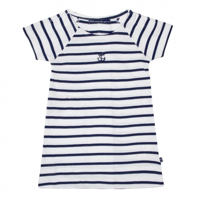 Navy-striped white dress