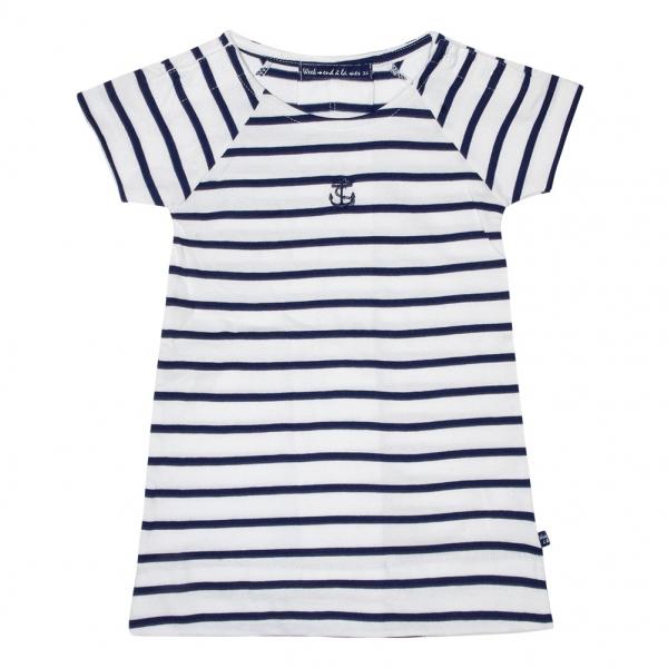 Navy-striped white dress