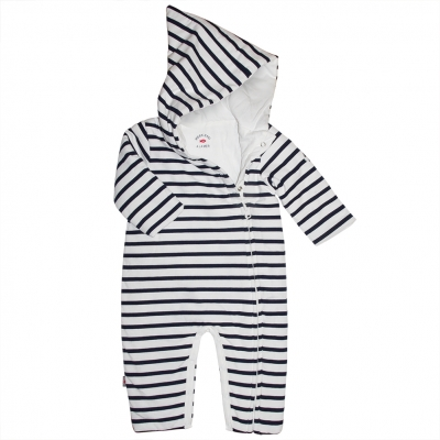 Striped hooded all-in-one
