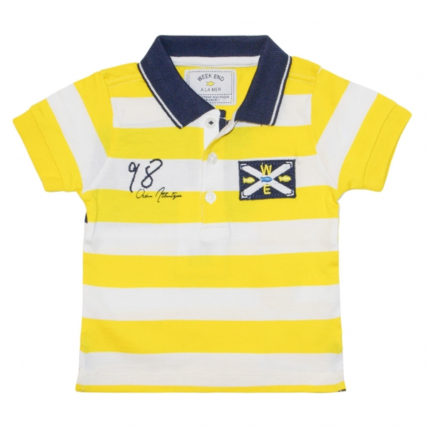 White yellow polo-shirt