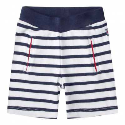 White navy shorts