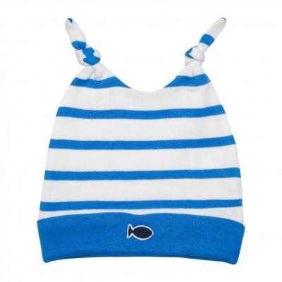 Bonnet blanc rayé bleu
