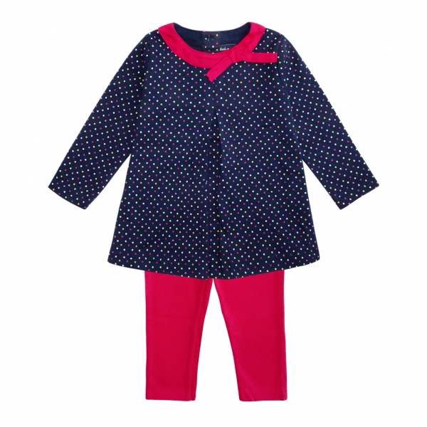 Dotted navy set