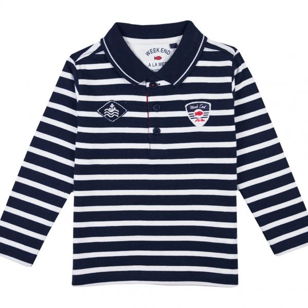 Navy ecru polo-shirt