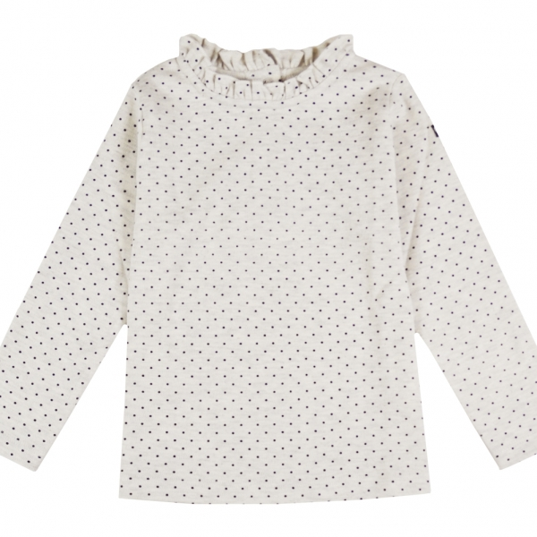 Dotted beige polo neck jumper