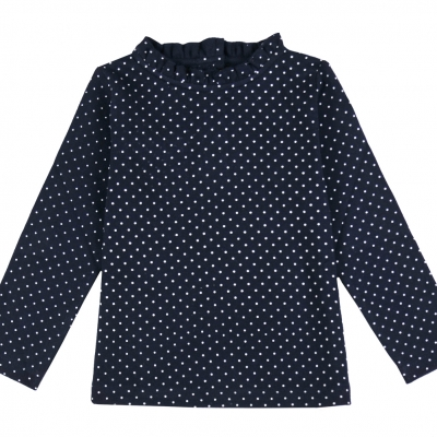 Dotted navy polo neck jumper