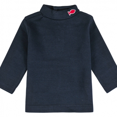 Navy polo-neck jumper