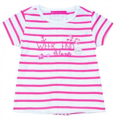 Tee-shirt blanc rose