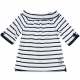 Off-the-shoulder striped t-shirt