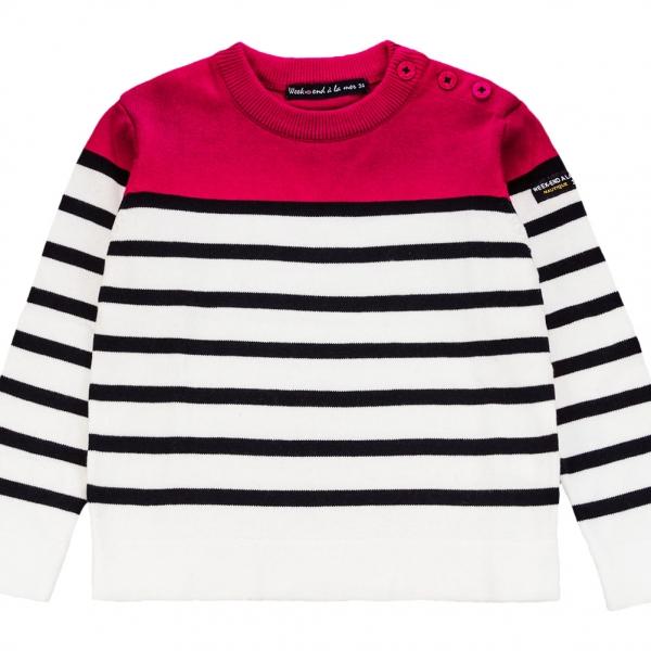 White navy stitch sweater