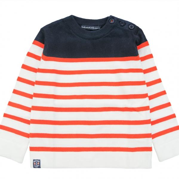 Pull blanc orange