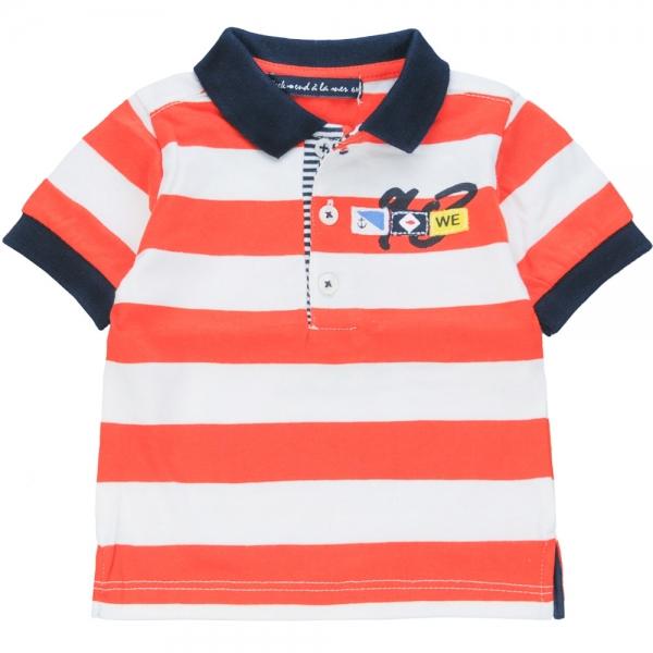 Polo blanc orange