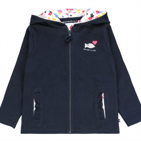 Hooded navy jacket