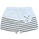 White navy swim shorts