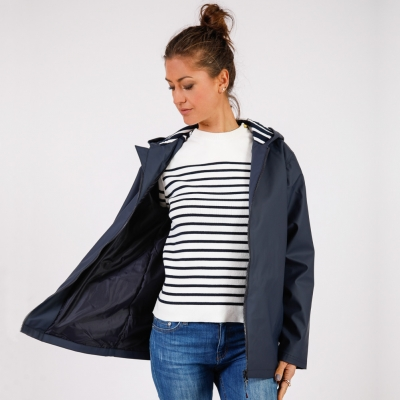 Mixed navy raincoat