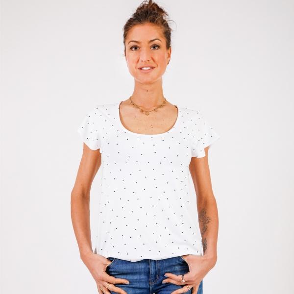 Tee-shirt blanc à pois