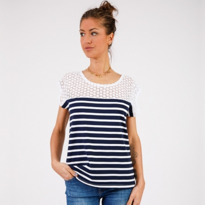 Tee-shirt marine blanc
