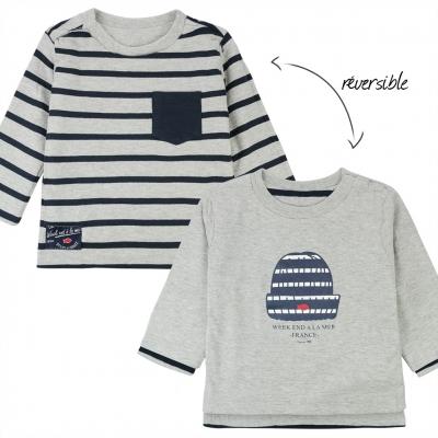 Tee-shirt gris réversible