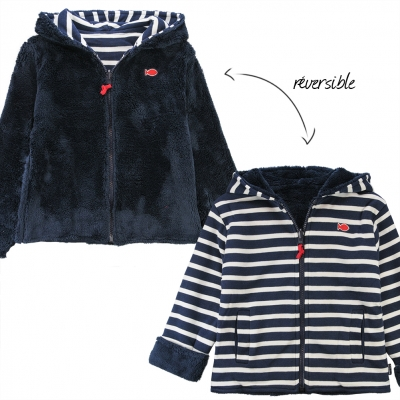 Reversible navy ecru sweater