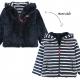 Reversible navy ecru sweater