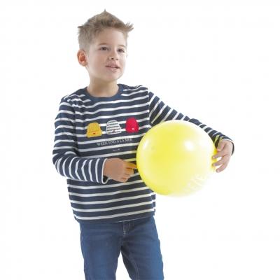 Ecru-striped navy t-shirt