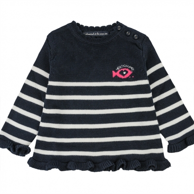 Navy ecru stitch sweater