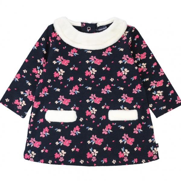 Flowery fleece dress