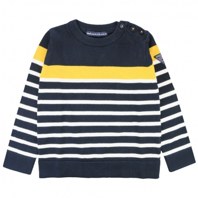 Navy ecru sweater