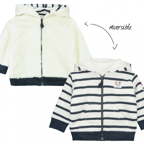 Reversible ecru navy sweater