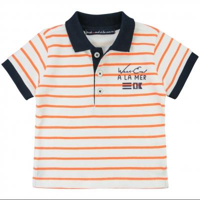 Polo blanc orange fluo