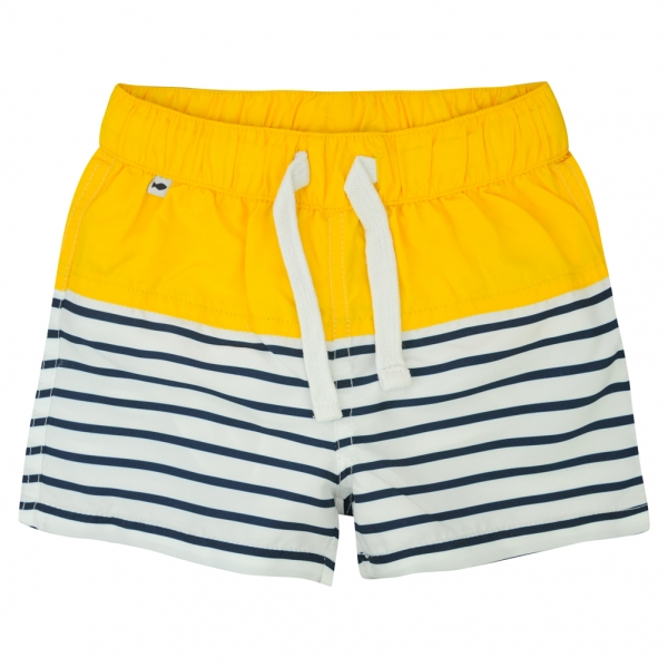 White navy swim shorts
