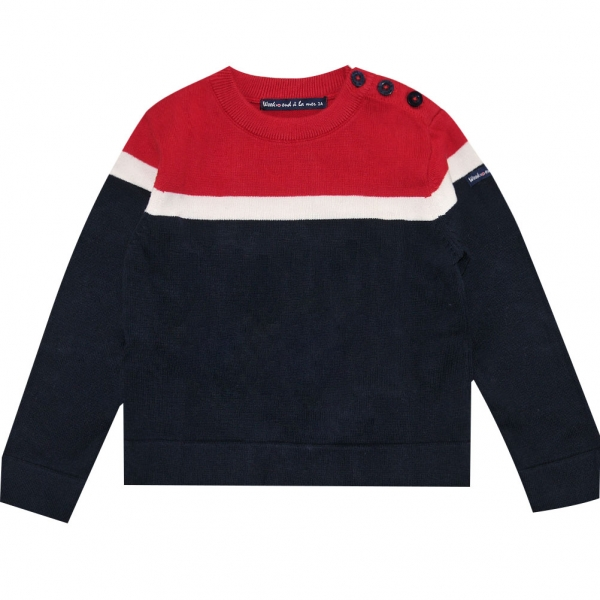 Ecru navy stitch sweater