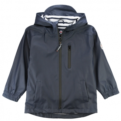 Navy Waxed Coat with hood