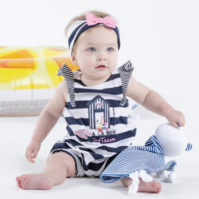 Baby girls white navy romper