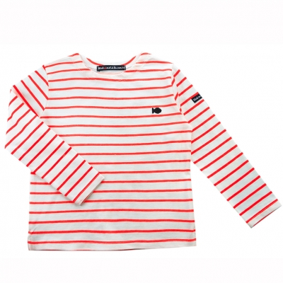 Sailor tee striped neon Orange